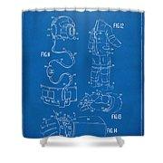 1973 Space Suit Elements Patent Artwork - Blueprint Shower Curtain by Nikki Marie Smith