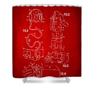 1973 Space Suit Elements Patent Artwork - Red Shower Curtain by Nikki Marie Smith