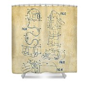 1973 Space Suit Elements Patent Artwork - Vintage Shower Curtain