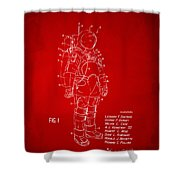 1973 Space Suit Patent Inventors Artwork - Red Shower Curtain