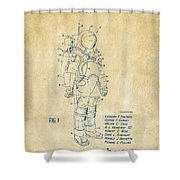1973 Space Suit Patent Inventors Artwork - Vintage Shower Curtain by Nikki Marie Smith