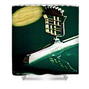 1976 Cadillac Fleetwood Hood Ornament Shower Curtain by Jill Reger