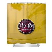 1976 Canary Yellow Vette Hood Emblem Shower Curtain