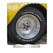 1976 Canary Yellow Vette Wheel Shower Curtain