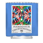 1976 Liechtenstein Gemini Postage Stamp Shower Curtain