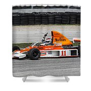 1976 Mclaren M23 F1 At Road America Shower Curtain
