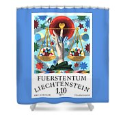 1977 Liechtenstein Libra Postage Stamp Shower Curtain
