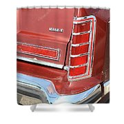1977 Lincoln Continental Mark V With Tail Lights And Logo Shower Curtain