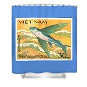 1984 Vietnam Flying Fish Postage Stamp Shower Curtain