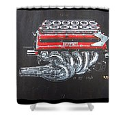 1990 Ferrari F1 Engine V12 Shower Curtain