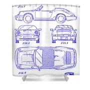 1990 Porsche 911 Patent Blueprint Shower Curtain