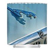 1995 Jaguar Xj6 Sedan Hood Ornament Shower Curtain by Jill Reger