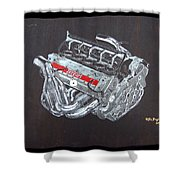 1996 Ferrari F1 V10 Engine Shower Curtain