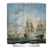 19th Century Naval Engagement In Home Waters Shower Curtain by Richard Willis