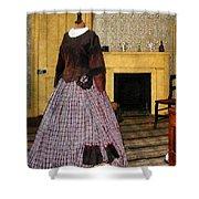 19th Century Plaid Dress Shower Curtain