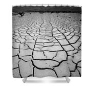 1a6832 Bw Mud Cracks In Death Valley Shower Curtain