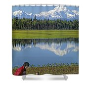 1m1326 Wife And Son In Denali National Park Shower Curtain
