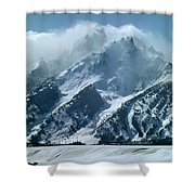 1m9314 Clouds Over The Tetons Shower Curtain