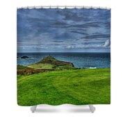 1st Green Cape Cornwall Golf Club Shower Curtain by Chris Thaxter