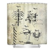 1911 Anatomical Skeleton Patent Shower Curtain
