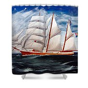 3 Master Tall Ship Shower Curtain