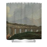 A Colonnade In Ruins Shower Curtain