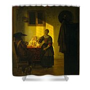 A Couple Playing Cards With A Serving Woman Shower Curtain