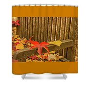 A Foliage Pillow On A Bench In A Woodland Shower Curtain