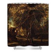 A Forest At Dawn With A Deer Hunt Shower Curtain