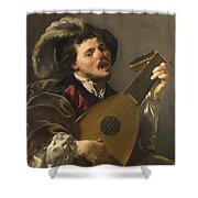 A Man Playing A Lute Shower Curtain