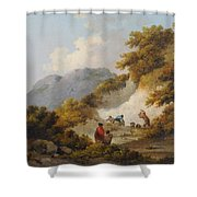 A Mother And Child Watching Workman In A Quarry, Shower Curtain