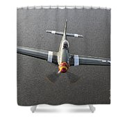 A North American P-51 Mustang In Flight Shower Curtain