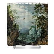 A Rocky Landscape With Travelers Shower Curtain