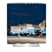 A Romanian Air Force Mig-21c Airplane Shower Curtain