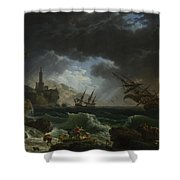 A Shipwreck In Stormy Seas Shower Curtain