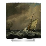 A Small Dutch Vessel Close-hauled In A Strong Breeze Shower Curtain