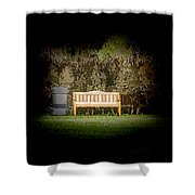 A Trash Can And Wooden Benches In A Small Grassy Area Shower Curtain