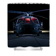 A Uh-60 Black Hawk Helicopter Lit Shower Curtain