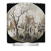 A Winter Scene With Skaters Near A Castle Shower Curtain