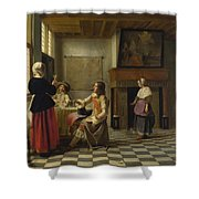 A Woman Drinking With Two Men Shower Curtain
