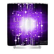 Abstract Circuit Board Lighting Effect  Shower Curtain