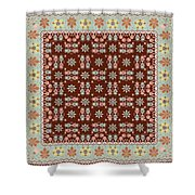 Abstract Ethnic Shawl Floral Pattern Design Shower Curtain