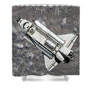 Aerial View Of Space Shuttle Discovery Shower Curtain by Stocktrek Images