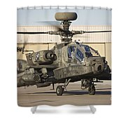 Ah-64d Apache Longbow Taxiing Shower Curtain