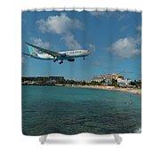 Air Caraibes Landing At St. Maarten Shower Curtain