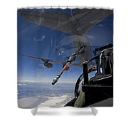 An F-15 Eagle Pulls Into Position Shower Curtain by HIGH-G Productions