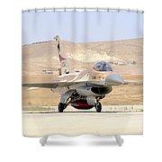 An Israeli Air Force F-16a Netz Taxiing Shower Curtain