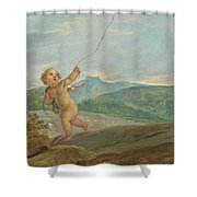 Angel Flying A Kite Shower Curtain