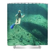 Apnea In Tropical Sea Shower Curtain