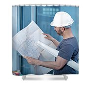Architect Builder Studying Layout Plan Of The Room Shower Curtain